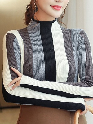 Casual Long Sleeve Stand Collar Color-block Sheath Sweater_8