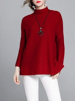 Burgundy Casual Stand Collar Solid Sweater_4
