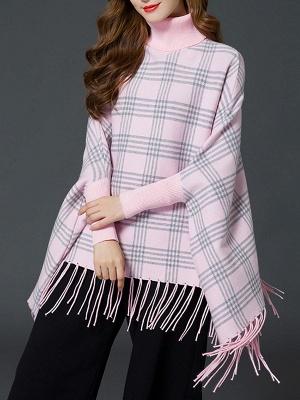 Checkered/Plaid Elegant Batwing Sweater_1