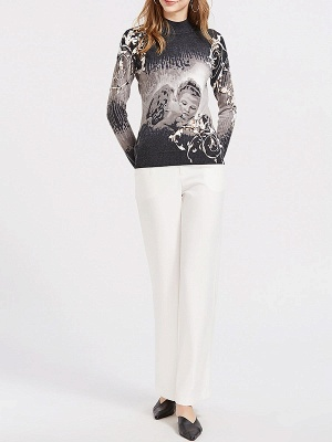Black Casual Printed Long Sleeve Sweater_4