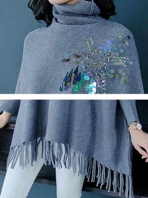 Gray Batwing Casual Fringed Turtleneck Solid Sweater_5