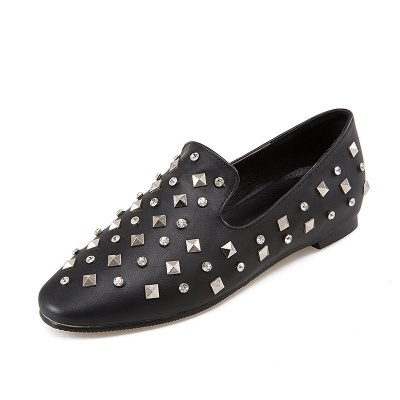 Rivet Daily Round Toe Chunky Heel Casual Loafers_9