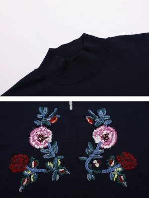 Royal blue Casual Long Sleeve Embroidered Shift Stand Collar Sweater_5