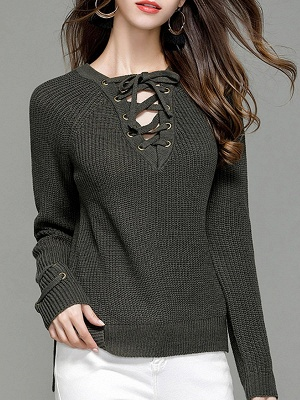 Sheath Long Sleeve Solid Lace up Casual Sweater_5