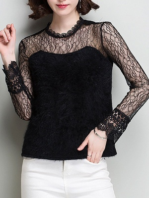 Wool Casual Long Sleeve Sweater Lace Mesh Knitted Top_4