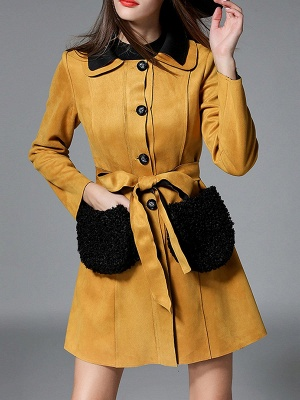 Yellow Casual Solid Shift Long Sleeve Coat_1