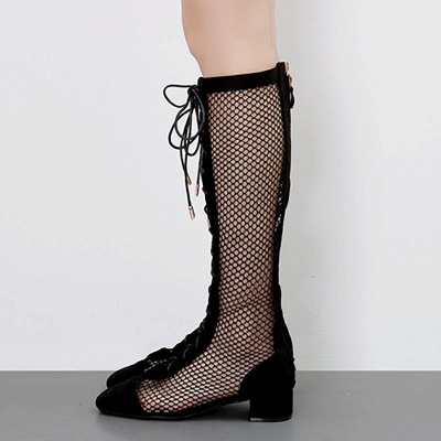 Mesh Look Through Lace-up Round Toe Boots1_4