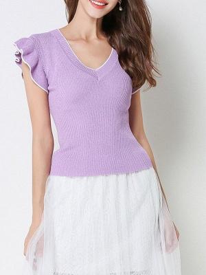 Ice Yarn Knitted V neck Elegant Frill Sleeve Ruffled Sweater_2