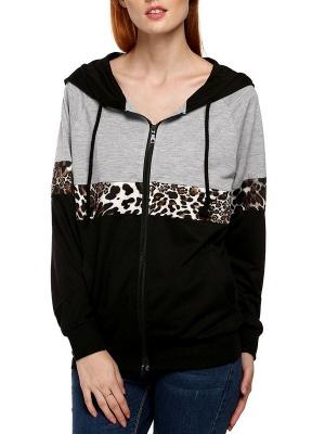 Black Leopard Print Casual Coat_6