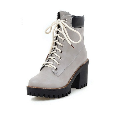 Daily Lace-up PU Round Toe Chunky Heel Boots_11