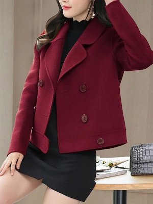 Work Long Sleeve Solid Lapel Buttoned Paneled Coat_6