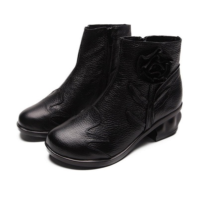 Chunky Heel Leather Flower Round Toe Boots_2