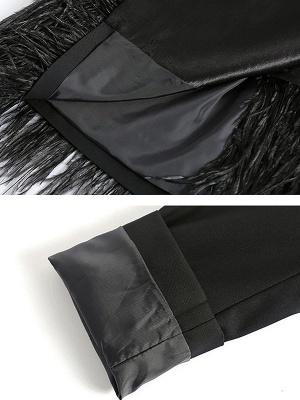 Black Statement Solid Paneled Plunging neck Coats_5