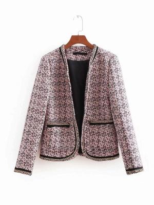 Pink Casual Shift Crew Neck Long Sleeve Paneled Pockets Coat_7