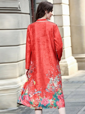 Long Sleeve Stand Collar Floral Printed Pockets Coat_4
