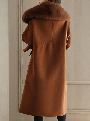 Shift Solid Casual Long Sleeve Shawl Collar Pockets Paneled Coat_4