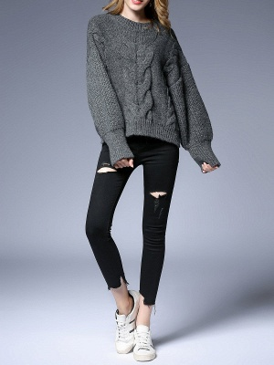 Long Sleeve Crew Neck Knitted Casual Sweater_8