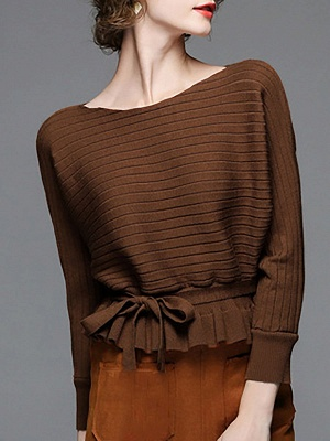 Solid Ribbed Casual Long Sleeve Sweater_1