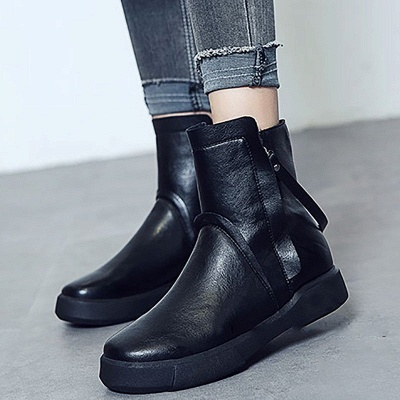Zipper Daily Round Toe Flat Heel Boots_2