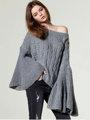 Knitted Shift Frill Sleeve Solid Casual Sweater_2