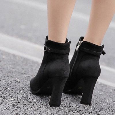 Daily Buckle Pointed Toe Elegant Boots_4