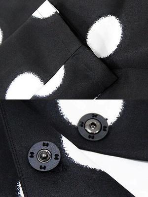 Black Shift Beaded Crew Neck 3/4 Sleeve Casual Coat_7