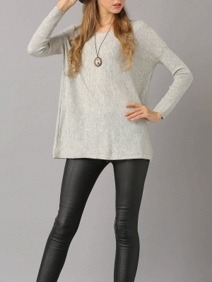 Shift Paneled Solid Casual Long Sleeve Sweater_16