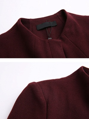 Buttoned Work Shift Solid Long Sleeve Pockets Crew Neck Coat_7