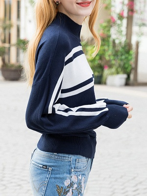 Royal blue Solid Balloon Sleeve Sweater_3