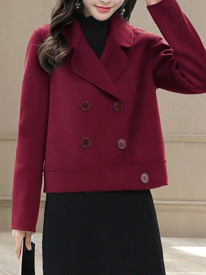 Work Long Sleeve Solid Lapel Buttoned Paneled Coat_1