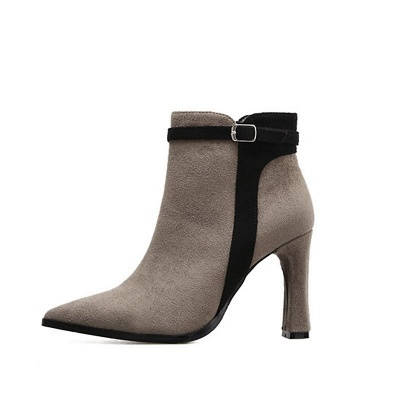 Daily Buckle Pointed Toe Elegant Boots_8