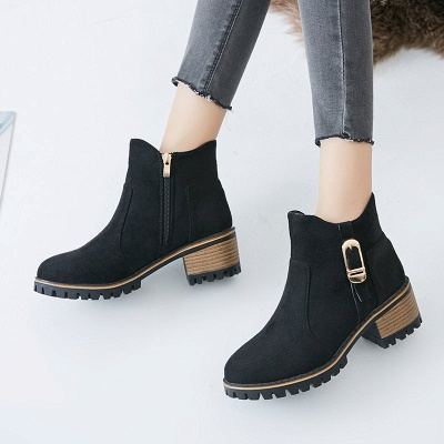 Buckle Chunky Heel Daily Round Toe Zipper Boots_3