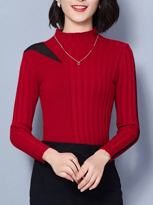 Solid Casual Long Sleeve Turtleneck Sweater_2