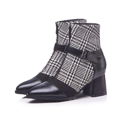 Daily Zipper Pointed Toe Buckle Chunky Heel Boots_9