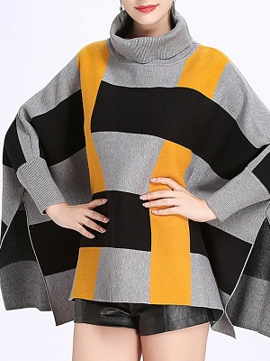 Elegant Shift Batwing Color-block Sweater_4