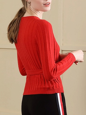 Velvet Plunging neck Casual Knitted Long Sleeve Sweater_4