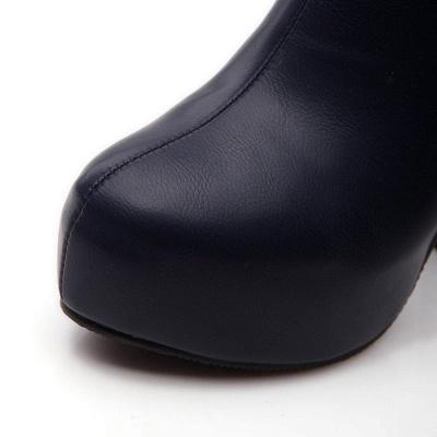 Daily Chunky Heel Zipper Tie Round Toe Elegant Boots_10