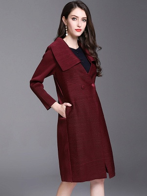 Shift Buttoned Pleated Shawl Collar Coat_6