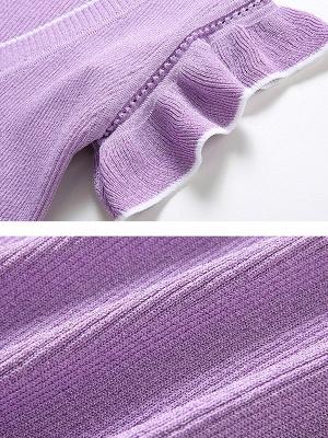 Ice Yarn Knitted V neck Elegant Frill Sleeve Ruffled Sweater_6