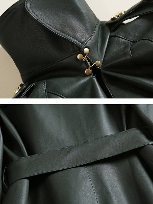 Dark Green Raglan Sleeve Work Lapel Pockets Coat_6