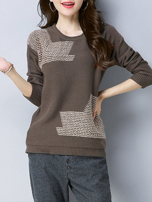 Crew Neck Casual Long Sleeve Sweater_1