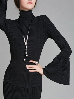Turtle Neck Casual Bell Sleeve Pleated Sweater_5