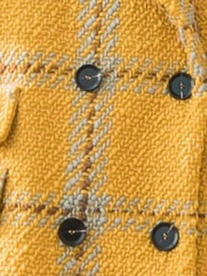 Yellow Lapel Long Sleeve H-line Buttoned Checkered/Plaid Casual Pockets Coat_6