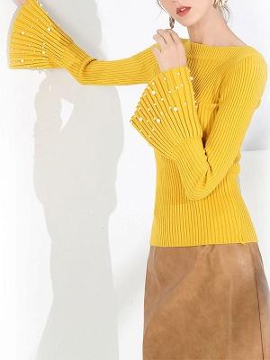 Frill Sleeve Casual Bateau/boat neck Sheath Sweater_8