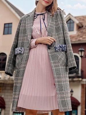 Gray Checkered/Plaid Long Sleeve Pockets Coat_6