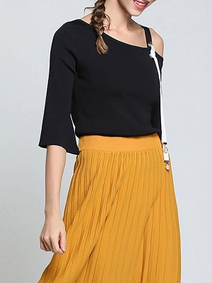 Black Casual One Shoulder Solid Sweater_7