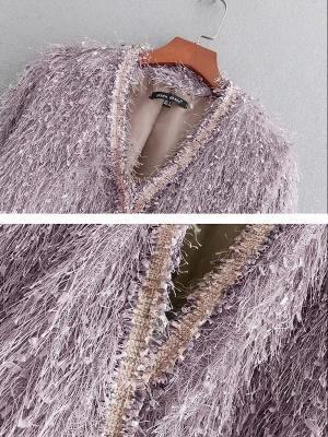 Pink Solid V-Neck Paneled Casual Fringed Shift Coat_5