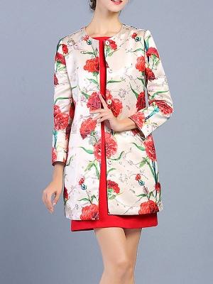 Buttoned Long Sleeve Floral Work Elegant Coat_1