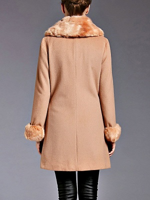 Coffee Bow Lapel Fluffy Buttoned  Paneled Coat_3