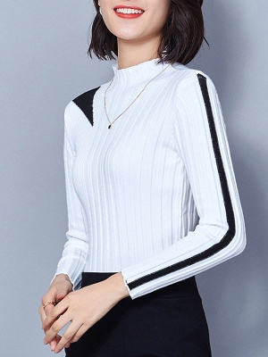 Solid Stand Collar Long Sleeve Casual Sheath Sweater_1